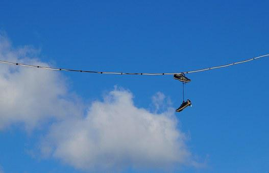 Shoe Tossing, Sky, Shoes, Wire