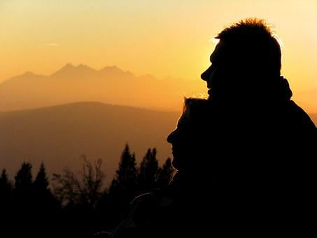 Love, Woman, Male, Feeling, Sunset, Mountains, Total