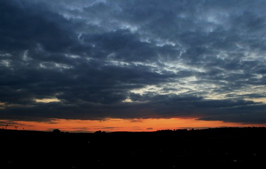 Cloudy Sky, Translucent Clouds, Streak Of Orange