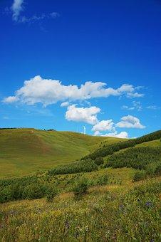 Hebei Fengning Bashang Grassland, Blue Sky, White Cloud