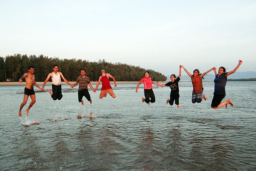 Happy People, Happy, Jumping, Beach, Frolic, Youngsters