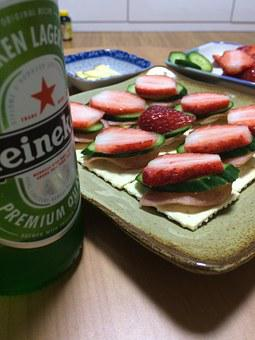 Heineken, Beer, Strawberry Canapés