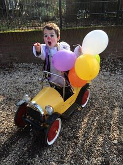 Clown, Party, Balloon, Brum, Pedal Car, Birthday, Child