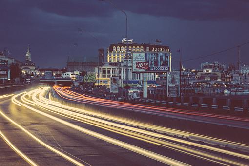 Billboards, Bridge, Buildings, City, Lights, Night