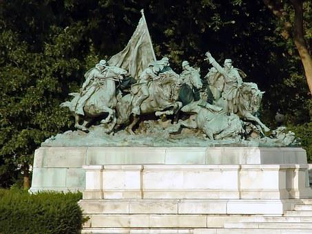 Usa, Washington, Statue, Cavalry, Bronze, Heroic Charge