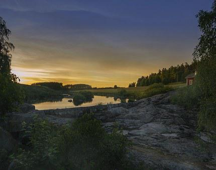 Rapids, Nautelankoski, Evening, River, Cottage, Field