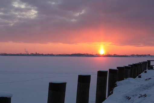 Greifswalder Bodden, Sunset, Abendstimmung, Ice, Winter