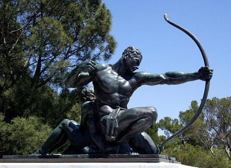 Archer, Bronze, Sta, Statue, Arrow, Bow, Warrior, Man