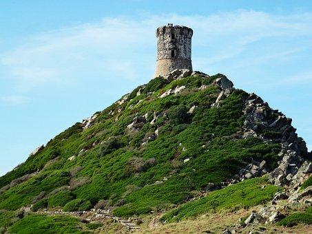 Landscape, Nature, Corsican, Tower, Maquis, Rock, Hill