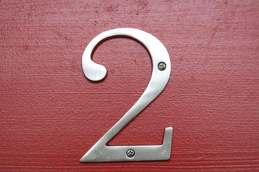 Number, Number 2, Two, Silver, Metal, Screwed, Red