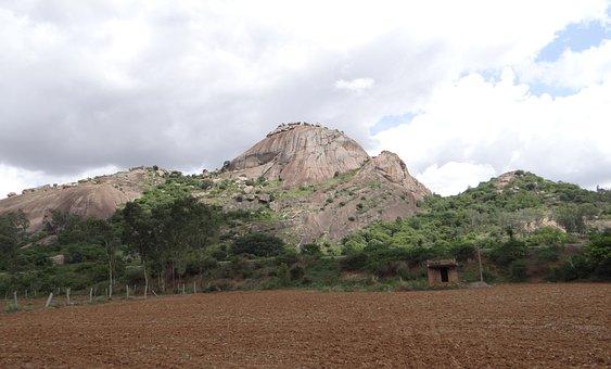 Hillock, Rock, Granite, Deccan Plateau, Karnataka