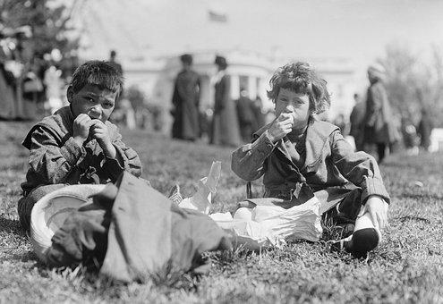 Children, Eat, Sit, America, Usa, Black And White, 1911