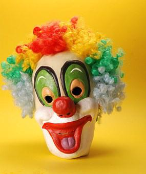 Clown, Mask, Happy, Face, Makeup, Colorful Hair