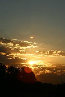 Sunrise, Orange Clouds, Towards The Sun, Dawn, Sunshine