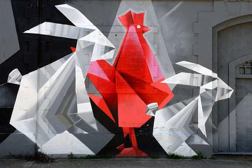 Street Art, Painting, Hangar, Factory, Decommissioned