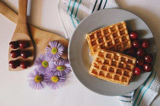 Cherries, Daisies, Flowers, Food, Purple Daisies, Table
