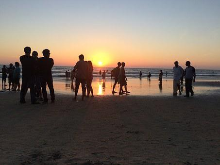 Sunset, Beach, Sea, India, People, Evening, Go, Stay