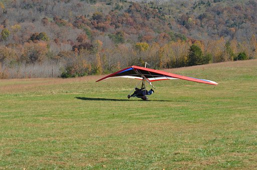 Delta-flying, Hang Glider, Landing, Paragliding