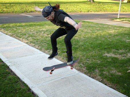Skateboarding, Skateboarder, Sidewalk, Jump, Male