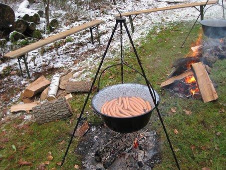 Sausage Boiler, Fireplace, Outdoor, Nature, Camping