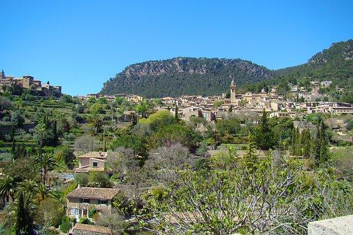 Valdemossa, Majorca, City, View, Panorama, Landscape