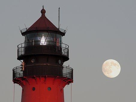 Lighthouse, Full Moon, Westerhever, Romantic