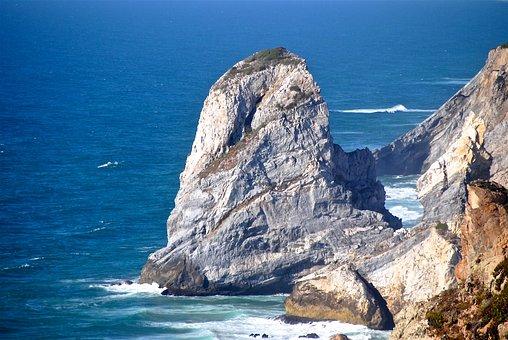 Rock, Sea, Surf, Capo-rocca, Atlantic, Portugal, Sintra