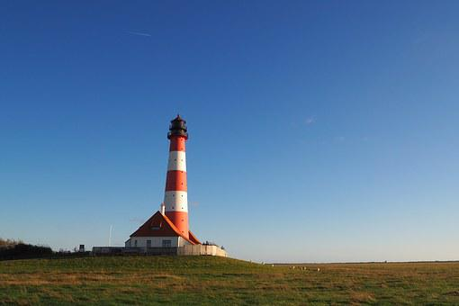 Lighthouse, Westerhever, Nordfriesland, North Sea
