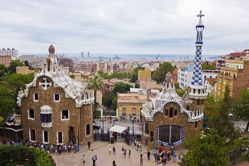 Barcelona, Spain, City, Park, Park Guell, Mozajka