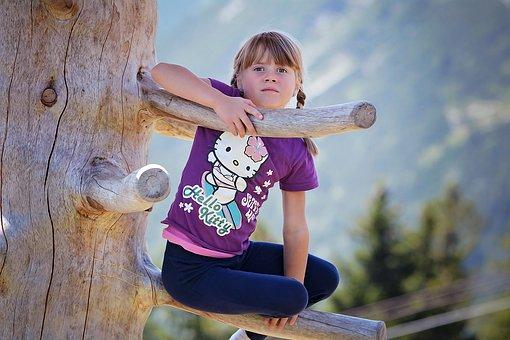 Person, Human, Child, Girl, Tree, Log, Climb