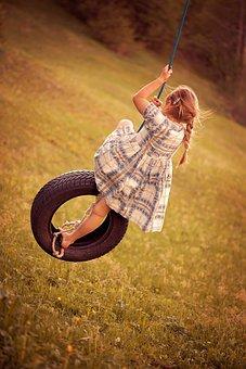 Person, Human, Child, Girl, Dress, Swing, Tire Swing