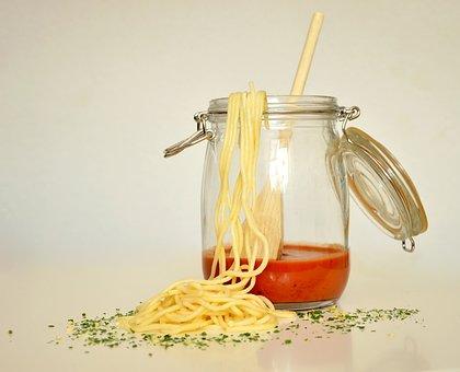 Spaghetti, Pasta, Noodles, Tomato Sauce, Glass, Eat