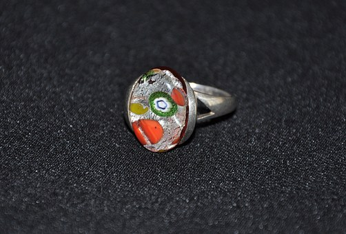 Ring, Silver, Jewellery, Millefiori, Glass, Glass Art