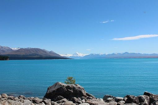 Lake, Natural, Water, Blue, Mountains, Mount Cook