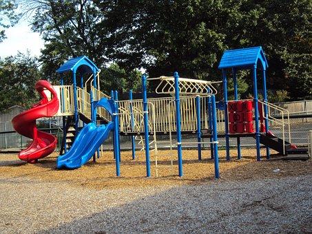 Playground, Slide, Park, Childhood, Equipment