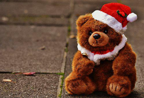 Christmas, Greeting Card, Teddy, Santa Hat, Plush, Cute