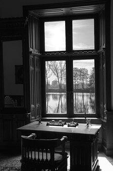 Window, Rhombus, Shutters, Cabinet, Table, Chair