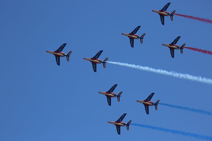 Aircraft, Patrol Of France, Aerobatics, Blue, Sky, Show