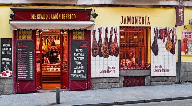 Spain, Madrid, Shop, Butcher, Jamoneria, Jam