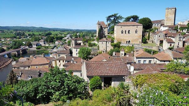 Puy L'eveque, France, Village, View, Summer, Dordogne
