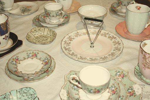 Tea Set, Tea Party, Teapot, Cups, Filter, Vintage