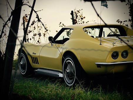 Corvette, C3, Oldtimer, Yellow, Historically, Vehicle