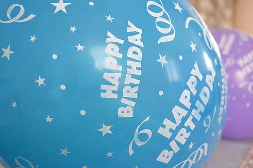 Happy Birthday, Balloons, Blue, Birthday, Happy