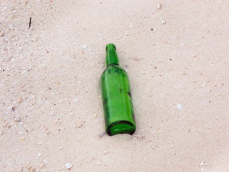 Bottle, Sand, Beach, Empty, Green, Drink, Beach Party