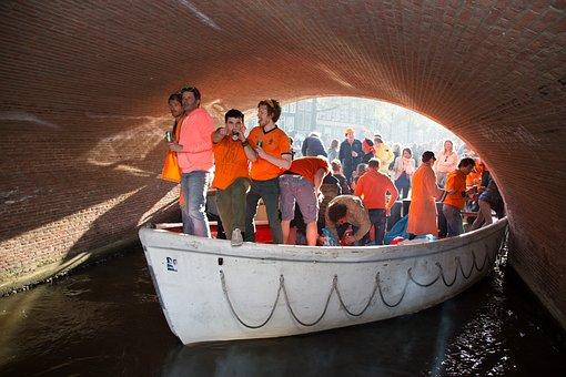 Men, Bridge, Party, King, Queen's Day, Kingsday, Orange