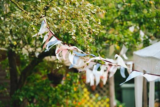 Bunting, Flags, Blowing, Breeze, Wind, Party