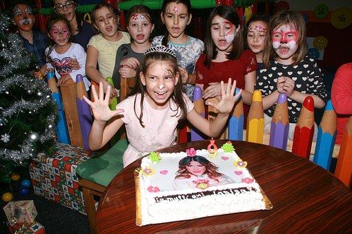 Girl, Birthday Party, Cake, Kids, Happiness