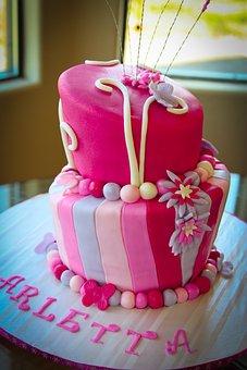 Cake, Layer, Pink, Dessert, Celebration, Birthday