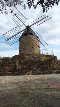 Mill, Collioure, Wind, Old, Ancient, Vineyard