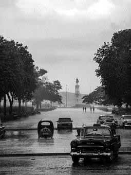 Cuba, Thunderstorm, Auto, Road, Rain, Black And White